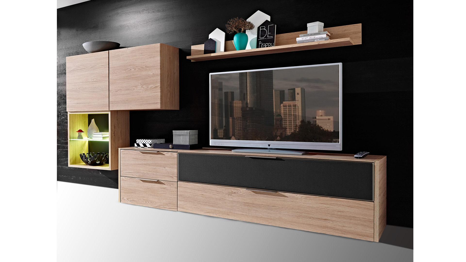 Möbel Eilers Apen, Moderne, Moderne Wohnkombination   Wohnwand, Vierteilig    Eichefarbene Kunststoffoberflächen U0026 Dunkelgraue Akustikbespannung